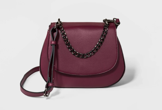 Target Everyday Essentials Saddle Crossbody Bag - A New Day in Burgundy