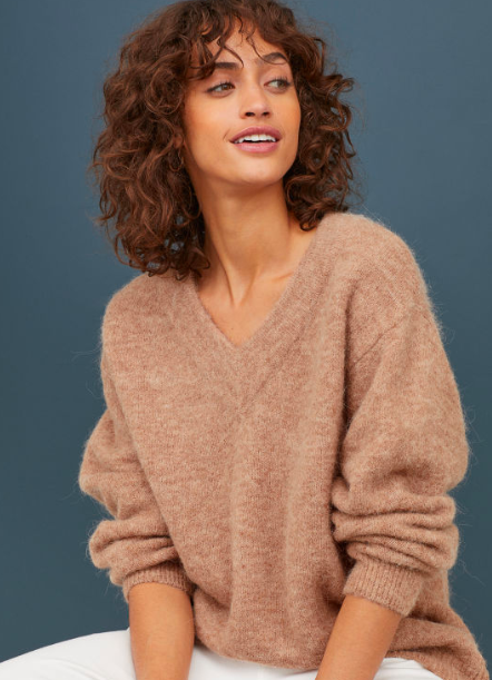 H&M Knit Wool-blend Sweater in Beige Melange