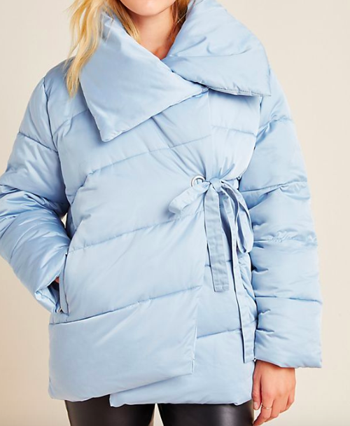 Anthropologie Oversized Wrap Puffer Jacket in Blue Fog