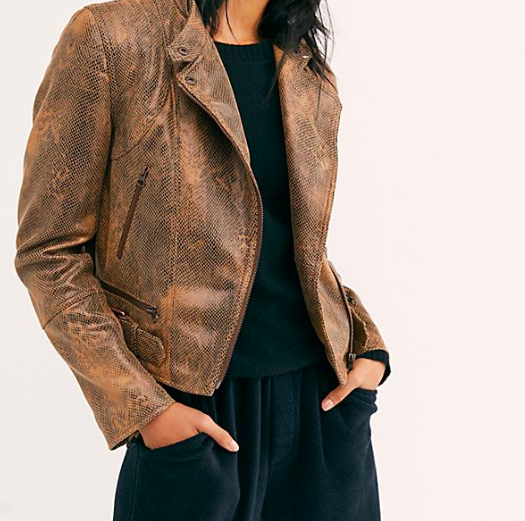 Free People Snakeskin Fenix Vegan Jacket